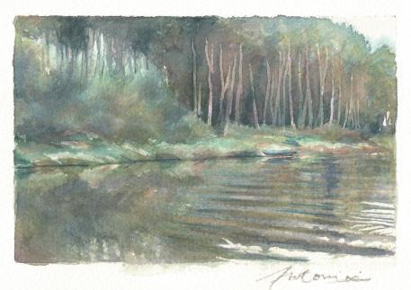 """""""Mélancolie de l'eau"""" Aquarelle sur papier Arches. Format : 10x15. 2002"""