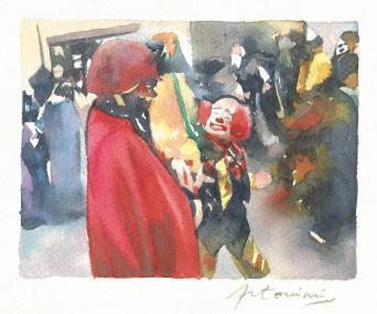 """""""Des confettis plein la tête"""" Aquarelle sur papier Arches. Format : 10x13. 2002"""
