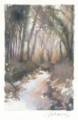 """""""Ruisseau sous la neige"""" Aquarelle sur papier Arches. Format : 10x15. 2002"""