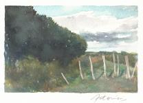 """""""La clôture bancale"""" Aquarelle sur papier Arches. Format : 10x15. 2002"""