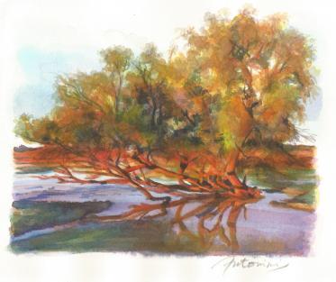 """""""L'éclat de l'automne"""" Aquarelle sur papier Arches. Format : 15x14. 2002"""