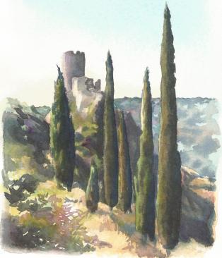 """""""La fierté des cyprès"""" Aquarelles sur papier Arches. Format : 13x19. 2002"""