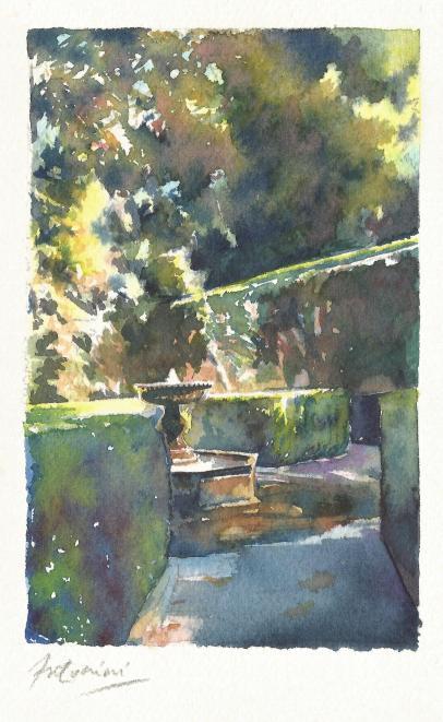 """""""Fontaine dans le jardin de Grenade"""" Aquarelle sur papier Arches. Format : 10x16. 2002"""