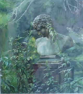 """"""" Songe d'une nuit d'été"""" Aquarelle sur papier Arches. Format : 51x45. 2002"""