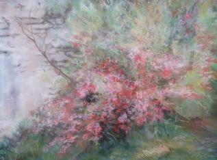 """Le printemps illumine le jardin"" Pastels secs. Format : 59x39. 1993"