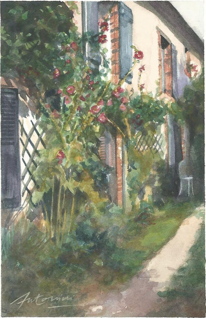 """""""La maison du bonheur"""" Aquarelle sur papier Arches. Format : 10x15. 2002"""