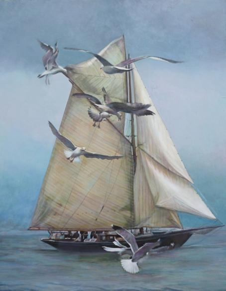 """""""Avec les mouettes pour cortège"""" Huile sur toile. Format : 46x38. 2011"""