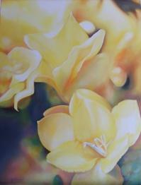 """""""Caresses d'ombres et d'ors"""" Huile sur toile. Format : 61x50. 2004"""