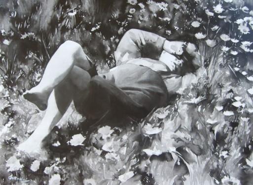 """""""L'enfance est le milieu de tout"""" Encre de chine sur toile. Format :54x72. 2010"""