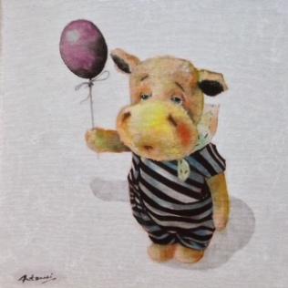 """""""Hippo"""" Acrylique sur toile. Format : 34x27. 2014"""