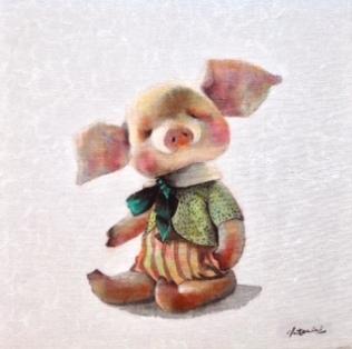 """""""Pig"""" Acrylique sur toile. Format : 30x30. 2014"""