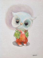 """""""Night owl"""" Acrylique sur toile. Format :34x27. 2014"""