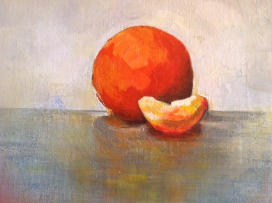 """""""Nature morte à l'orange"""" Acrylique sur toile. Format : 22x16. 2014"""