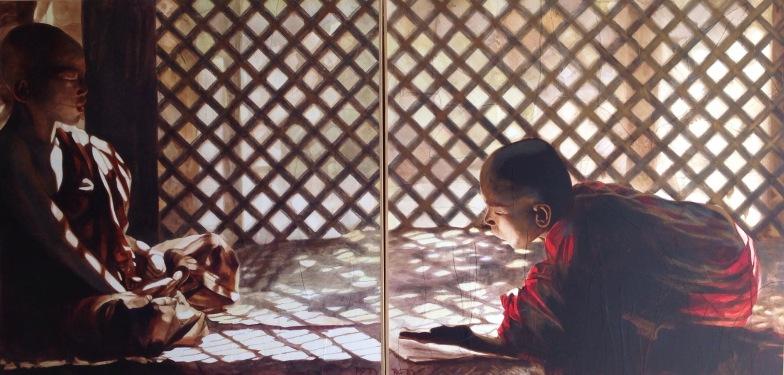 """""""Lumière cuivrée"""" Diptyque. Papier Ingres déchirés et collés sur toile. Encres sépia et sanguine et lavis acrylique jaune. Format : 100x100. 2012"""