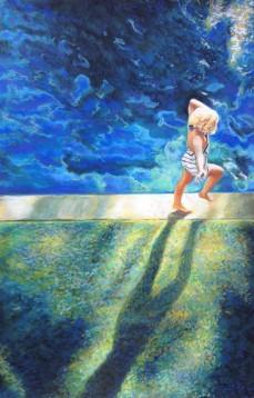 """""""L'enfant à l'ombre de géant"""" Pastel sec sur papier """"Pastelmat"""". Format : 30x46. 2014"""