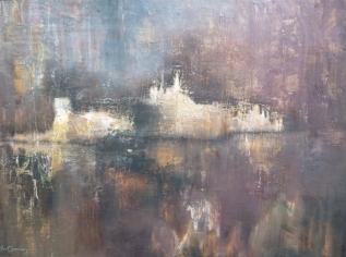 """""""La citadelle engloutie"""" Pastels secs. Format : 40x50. 1977"""