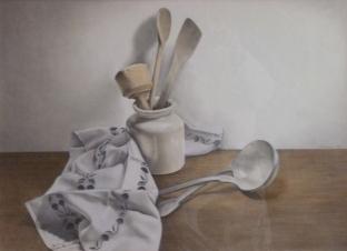 """""""La louche d'argent et le torchon de lin"""" Dessin aquarellé. Format : 40x55.1995"""