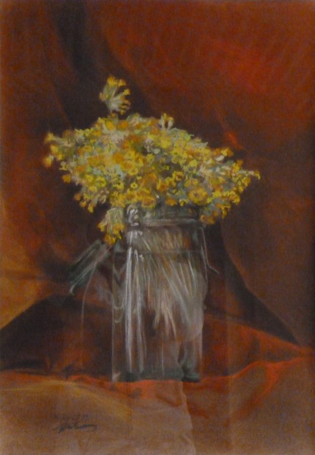 """""""L'éclat timides des primevères"""" Pastels secs. Format : 35x45. 1993"""