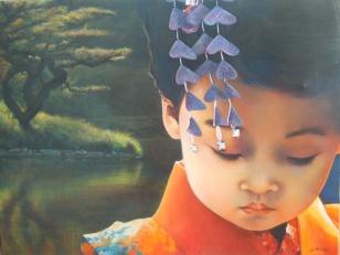"""L'émotion fragile et éphémère du crépuscule"""" Huile sur toile. Format : 61x50. 2006"""