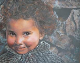 """""""L'enfant et ses sortilèges"""" Acrylique sur toile. Format : 41x33. 2006"""