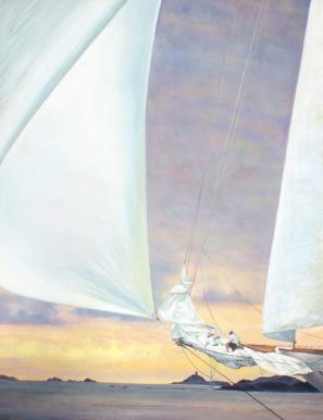 """""""Les voiles de satin s'enflent sous le vent qui rêve"""" Acrylique sur toile. Format : 61x50. 2004"""