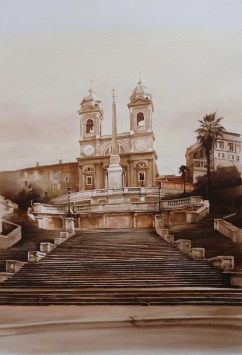 """""""L'escalier des heures glissantes"""" Aquarelle sur papier Arches. Format : 22x20 1997"""