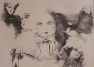 """""""Leurs yeux lancent des regards brillants et mystérieux"""" Dessin. Format : 65x50. 1979"""