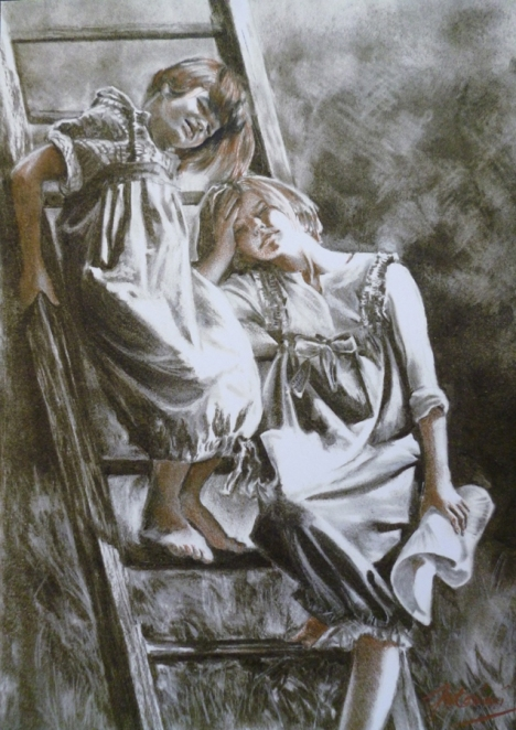 """""""L'innocent paradis loin des plaisirs furtifs"""" Fusain et sanguine. format : 30x41. 2001"""