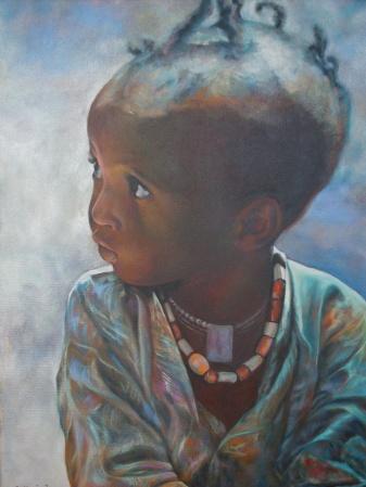 """""""Ne prenez pas à la légère le regard des tout petits"""" Acrylique sur toile. Format : 46x38. 2004"""