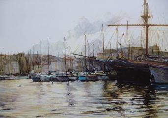 """""""Reflets dans le port de Marseille"""" Aquarelle. Format : 24x32. 2000"""