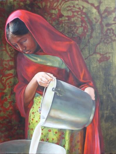 """""""La laitière"""" Huile sur toile. Format : 61x50. 2006."""