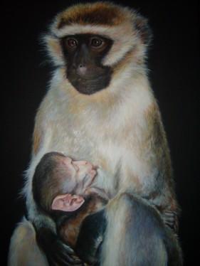"""""""De sa mère les affectueux soins"""" Huile sur toile. Format : 50x65. 2011"""