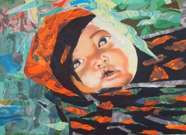 """""""Le petit berceau des lèvres"""" Acrylique et collage de papiers marbrés déchirés sur toile . Format : 55x46. 2006"""