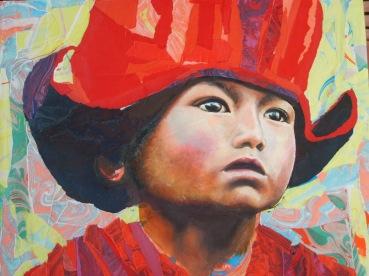 """""""Son regard s'ouvre sur l'éternité"""" Acrylique et collages de papiers marbrés déchirés sur toile. Format : 50x40. 2006"""