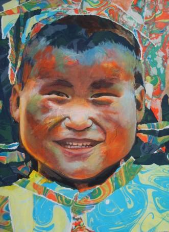 """""""L'or de son sourire"""" Acrylique et collage de papiers marbrés déchirés sur toile. Format : 55x46. 2006"""