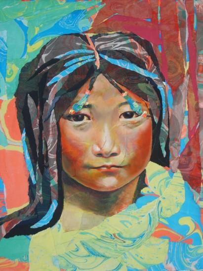 """""""Les larmes et les sourires écrivent sur les visages"""" Acrylique et papiers marbrés déchirés collés sur toile. Format : 55x46. 2006"""