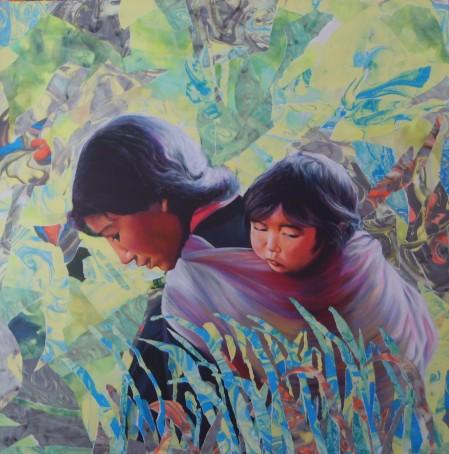 """""""Le pré aux mille fleurs"""" Acrylique et collage de papiers marbrés déchirés sur toile. Format : 100x100. 2006"""