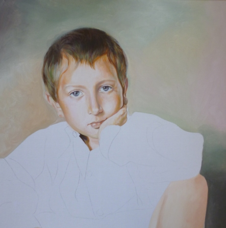 """""""Ses yeux comme des gouttes de cristal"""" Acrylique sur toile. Format : 60x60 2006"""