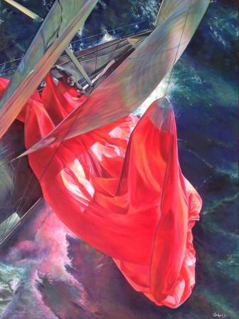 """""""Descendre le tangon et affaler le spi tant bien que mal"""" Acrylique sur toile. Format : 60x80. 2015"""