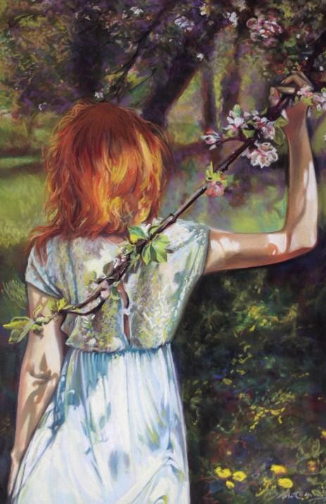 """Sous les pommiers en fleurs, la fraîcheur Pastel sec sur papier """"Pastelmat"""". Format : 30x46. 2014."""